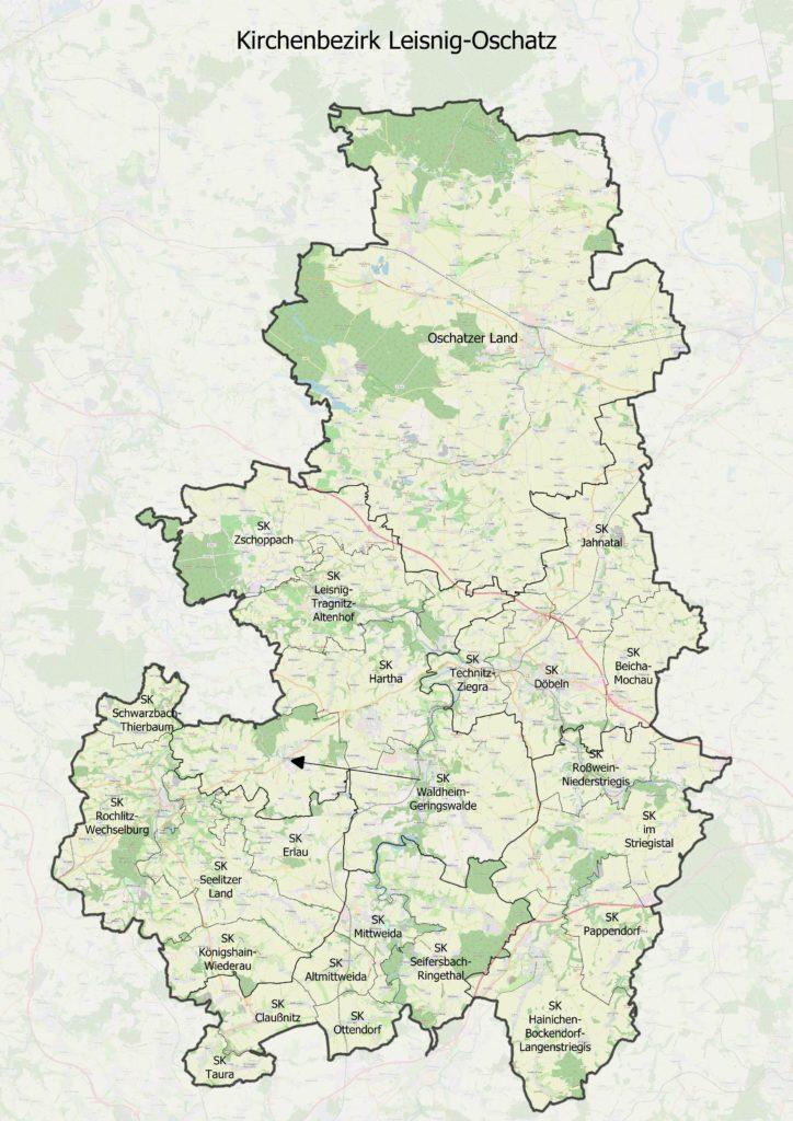 Karte des Ev.-Luth. Kirchenbezirks Leisnig-Oschatz