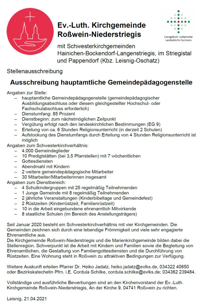 Stellenausschreibung Gemeindepädagogik Roßwein_04_21